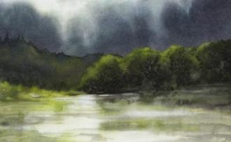 """Watermedia on silk, currently untitled, 6x8"""", ©2012 Lynne Baur"""