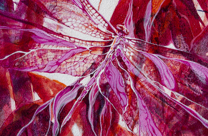 """""""Dragonfly in Magenta with Pink"""", mixed watermedia paper mounted on cradled board by Lynne Baur, 10x10"""", $125"""