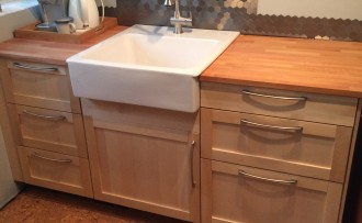 Studio sink and cabinets installed.