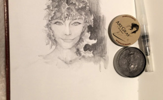 Art Graf's watersoluble graphite in a tin. Fun!