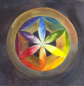 Watercolor color wheel exercise.