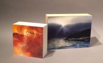 "Two small ""bookshelf"" paintings."