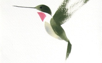 Hummingbird watercolor brush drawing