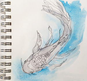 A line drawing of a fish. with a few splashes of color.