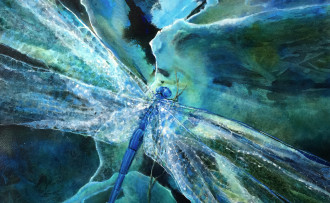 """Light Spills Down Your Wings"", watercolor and acrylic on paper, 16x20"", dragonfly painting by Lynne Baur"