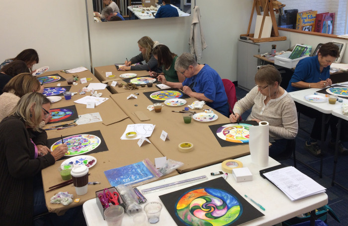 Mandala mini-retreat. Everyone's so absorbed in their work!