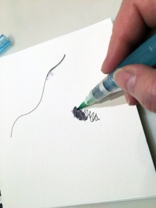 Running the brush over a scribble dissolves some of the color to add shading to a drawing.