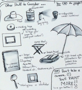 "Close up of part of sketchbook page with ""what to bring"" suggestions."