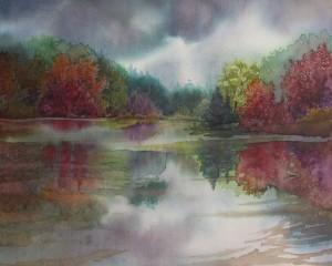 """Autumn Pond"". mixed watermedia on silk, 8x10"" ©2012 Lynne Baur"