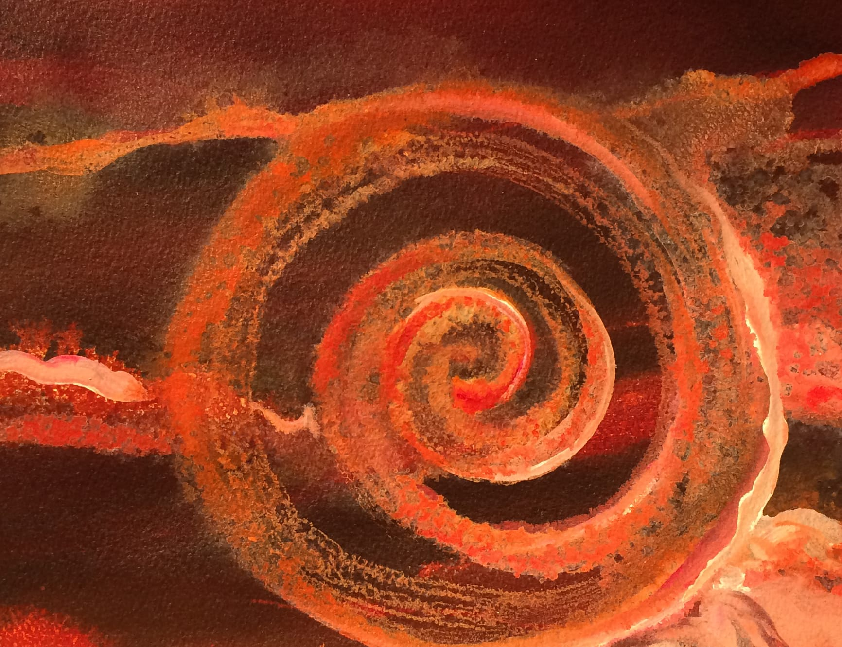 glowing orange spiral on deep red background, painting by Lynne Baur