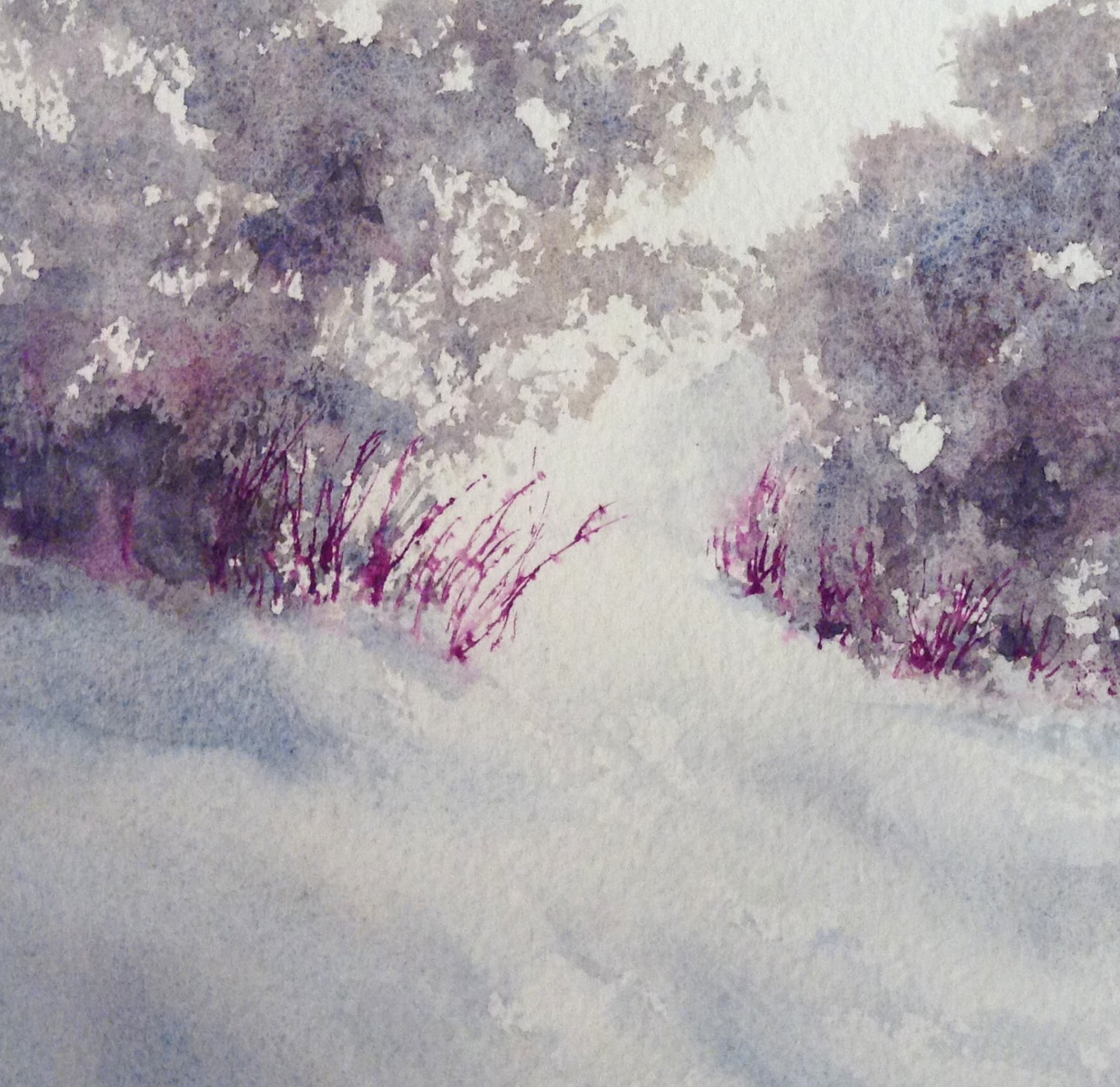 """""""Winter Colors #6"""", mixed watermedia on paper mounted on cradled board, 5x5"""", painting by Lynne Baur"""