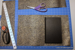 Journal and paper cut to size.