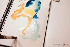 Journal page showing color moving into wet area.