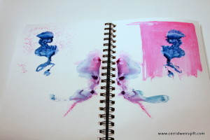 Facing journal pages with transferred color.