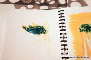 """Journal page with watercolor and marker """"eye""""."""