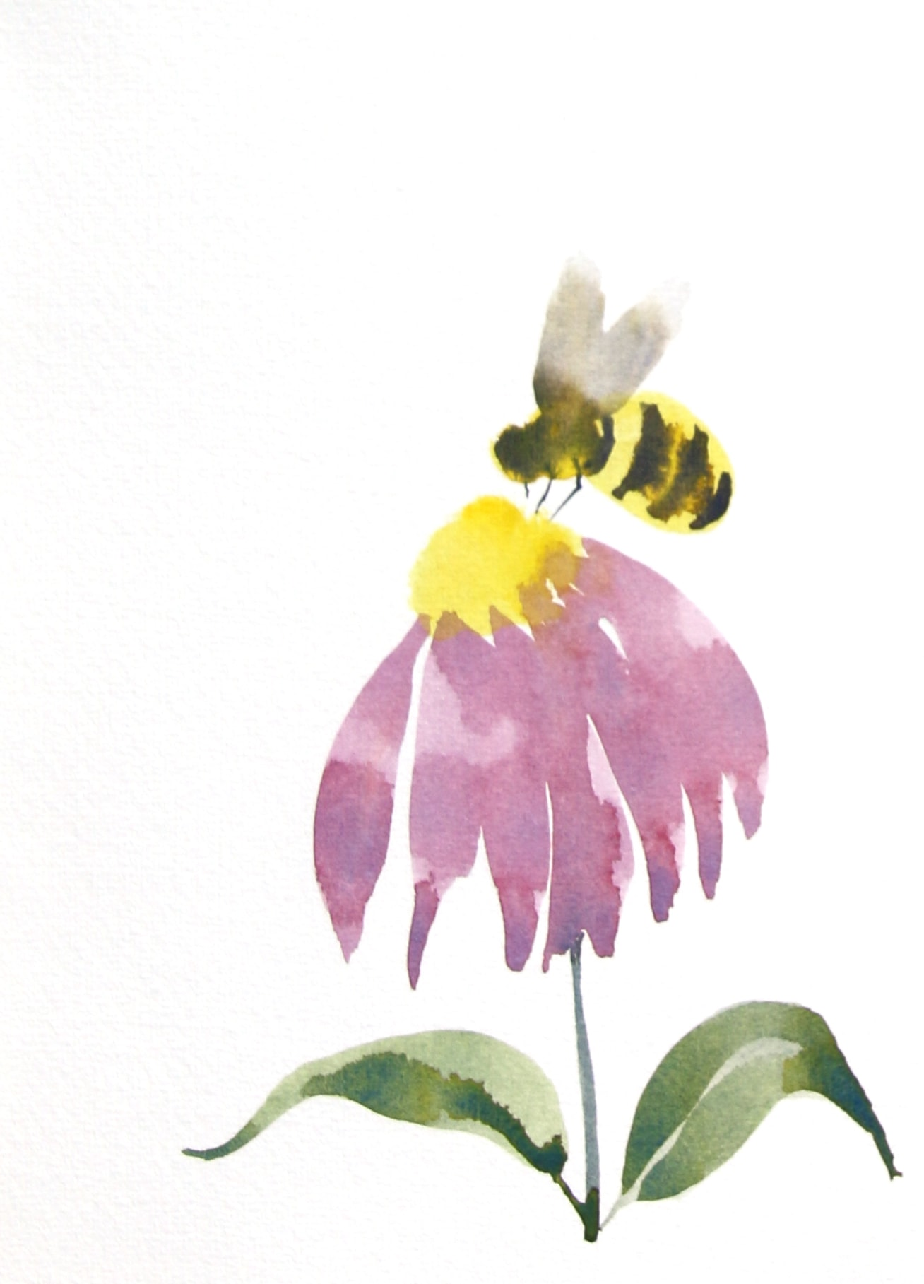 Bee and Coneflower Brush Drawing