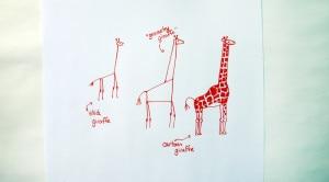 Stick figure, geometric and cartoon giraffes.