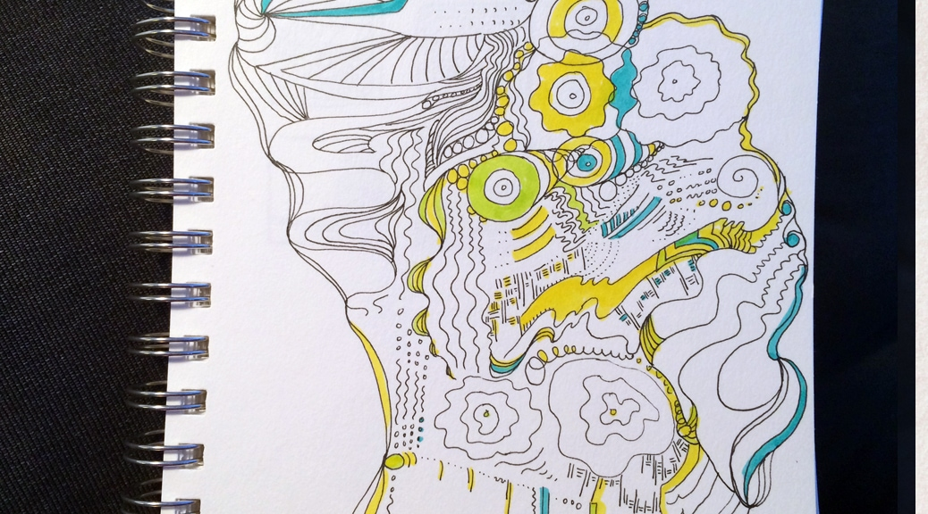 A doodle expressing the sounds I was hearing in a coffee shop.
