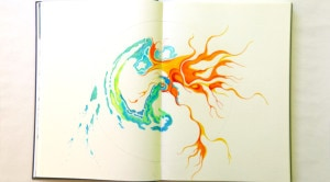 Radiating colored pencil drawing withlue/green watery shapes and red/orange fiery shapes.