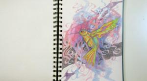 Multicolored drawing of hummingbird.