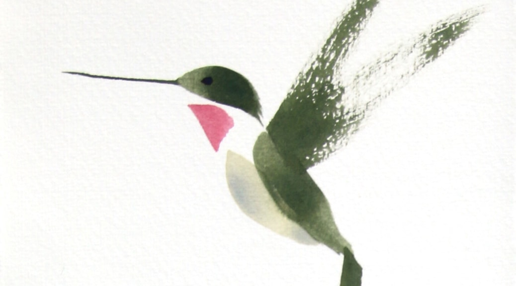 Hummingbird brush drawing.