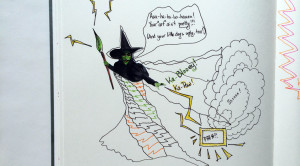 drawing of wicked witch of the west shooting lightning bolts at a painting