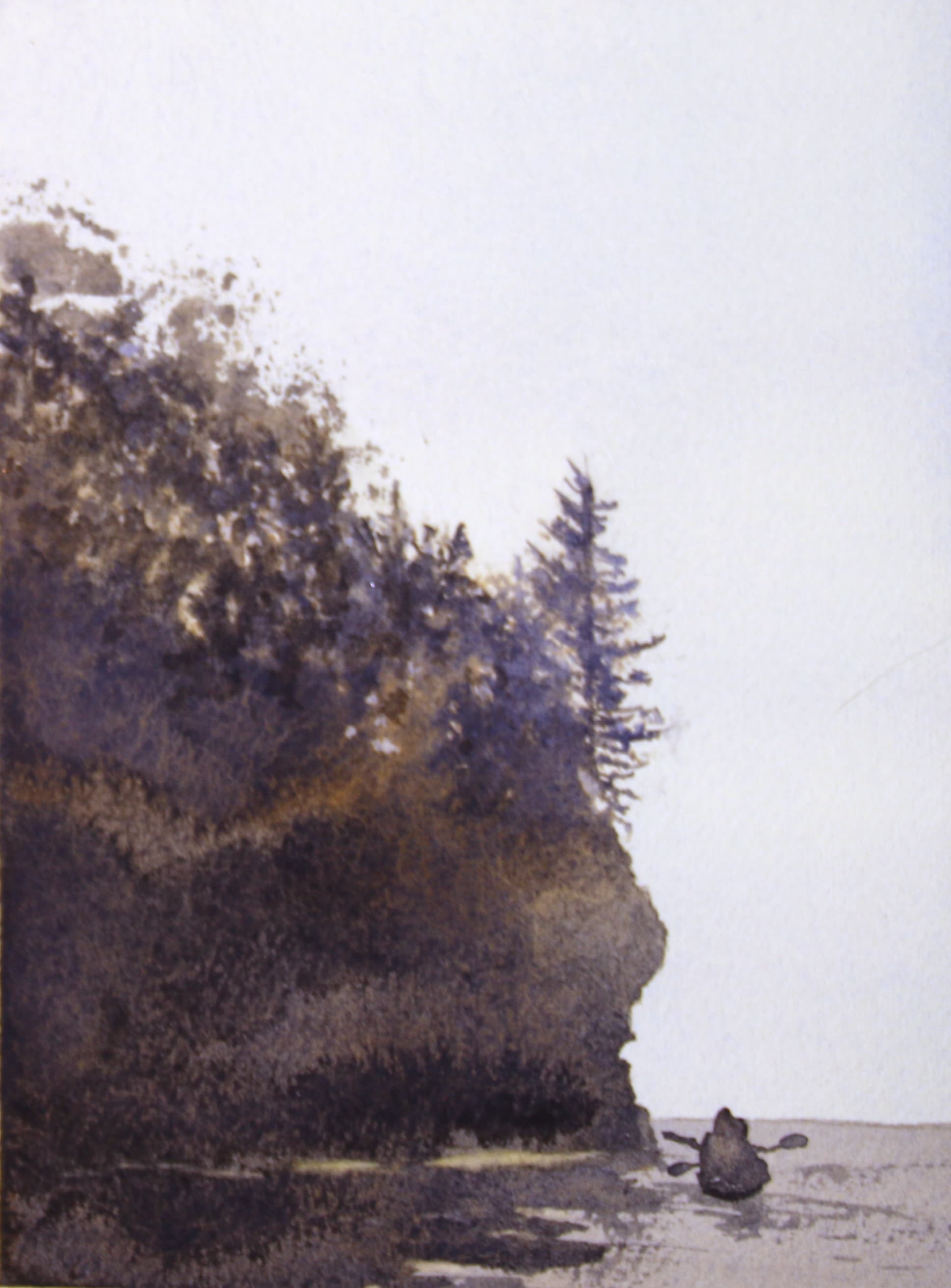 """silhouette"" painting of kayakers below a cliff on Lake Superior"