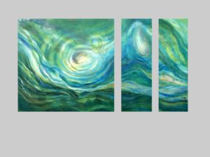 Triptych with water shapes and colors. Painting by Lynne Baur.