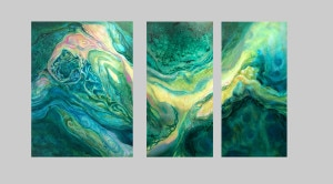 Triptych with water shapes and colors, painting by Lynne Baur