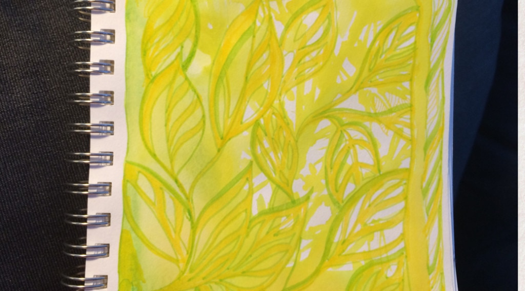 A yellow and green doodle expressing the scent of lemons.