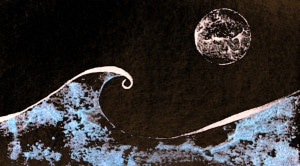 Stylized wave and full moon.